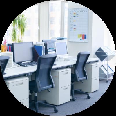 オフィス(デスク用パーテーション、オフィスチェア等)